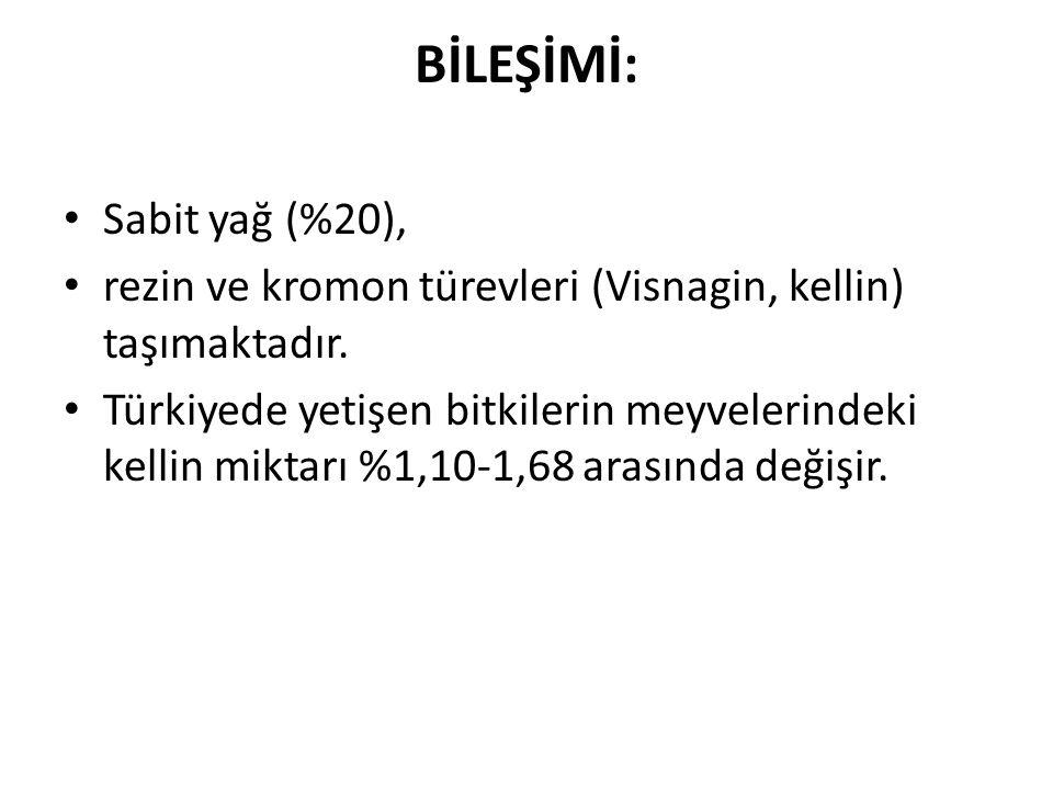 BİLEŞİMİ: Sabit yağ (%20), rezin ve kromon türevleri (Visnagin, kellin) taşımaktadır. Türkiyede yetişen bitkilerin meyvelerindeki kellin miktarı %1,10