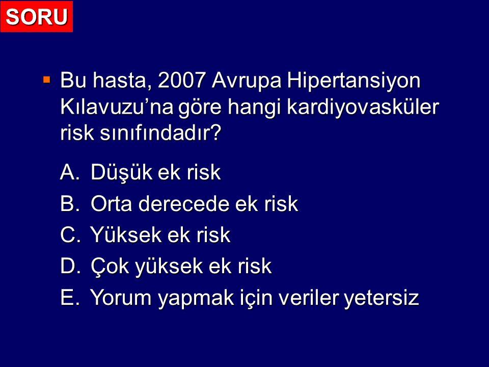 Kardiyovasküler Riskin Sınıflaması 2007 Guidelines for the Management of Arterial Hypertension (ESH – ESC) Diğer risk faktörleri, organ hasarı veya hastalık Normal120-129 veya 80-84 Yüksek normal 130-139 veya 85-89 Evre 1 140-159 veya 90-99 Evre 2 160-179 veya 100-109 Evre 3 > 180 veya > 110 Başka risk faktörü yok Ortalama risk Düşük ek risk Orta derecede ek risk Yüksek ek risk 1-2 risk faktörü Düşük ek risk Orta derecede ek risk Çok yüksek ek risk > 3 risk faktörü, MS, organ hasarı veya diyabet Orta derecede ek risk Yüksek Yüksek Yüksek Çok yüksek ek risk KV veya renal hastalık Çok yüksek ek risk Çok yüksek ek risk Çok yüksek ek risk Çok yüksek ek risk Çok yüksek ek risk ?