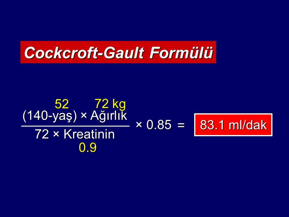 Kronik Böbrek Hastalığının Evreleri National Kidney Foundation Guidelines.: Am J Kidney Dis 39: Suppl 1, 2002 EvreTanımGFR (ml/dak/1.73 m 2 ) 1 Normal veya  GFR ile birlikte böbrek hasarı >90 2 Hafif derecede  GFR ile birlikte böbrek hasarı 60-89 3 Orta derecede  GFR 30-59 4 Ciddi derecede  GFR 15-29 5 Böbrek yetmezliği <15 (veya diyaliz)