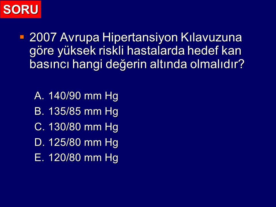 2007 Guidelines for the Management of Arterial Hypertension (ESH – ESC) Kan Basıncı Eşik Değerleri / Hedef (mm Hg) Eşik Değer (mm Hg) Hedef Değer (mm Hg) Genel Hipertansif Nüfus >140/90 <140/90 Yüksek riskli hastalar (Koroner arter hastalığı, Serebrovasküler hastalık, Diyabet, Böbrek disfonksiyonu) >130/85 <130/80