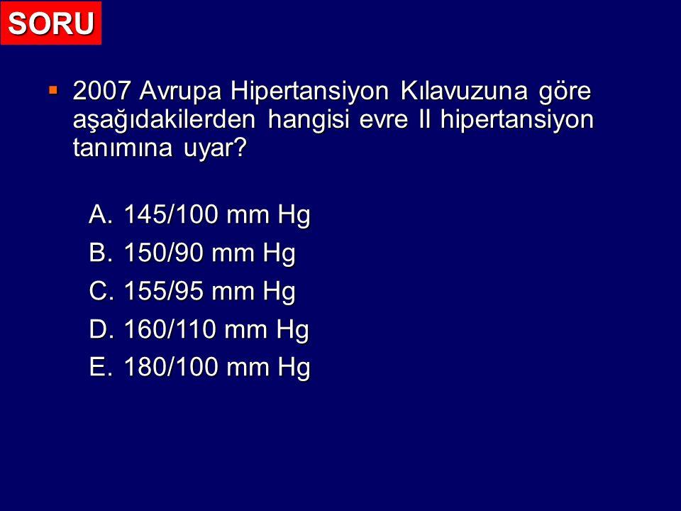 Kan Basıncı Düzeylerine İlişkin Tanımlar ve Sınıflandırma 2007 Guidelines for the Management of Arterial Hypertension: J Hypertens 25: 1105-1187, 2007 Kategori Sistolik (mm Hg) Diyastolik (mm Hg) Optimum < 120 < 80 Normal120-12980-84 Yüksek normal 130-13985-89 Evre 1 hipertansiyon 140-15990-99 Evre 2 hipertansiyon 160-179100-109 Evre 3 hipertansiyon > 180 > 110 İzole sistolik hipertansiyon > 140 < 90 Bir hastanın sistolik ve diyastolik kan basınçları farklı kategorilere girerse, daha yüksek olan kategori esas alınır.