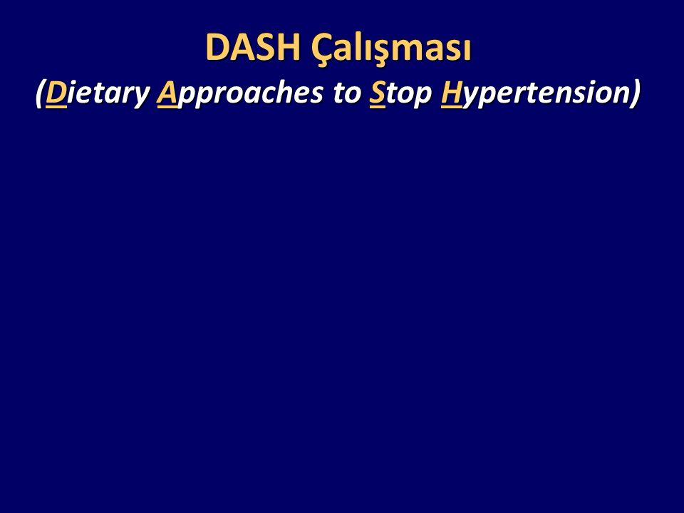  Kan basıncı <160 / 80-85 mm Hg olan 459 kişi  Üç çeşit diyet: Kontrol diyeti Meyve ve sebze diyeti Kombinasyon diyeti: Meyve, sebze ve az yağlı süt ürünlerinden zengin, doymuş yağ ve toplam yağ miktarı az diyet ( DASH diyeti)  Takip süresi: 8 hafta DASH Çalışması (Dietary Approaches to Stop Hypertension)