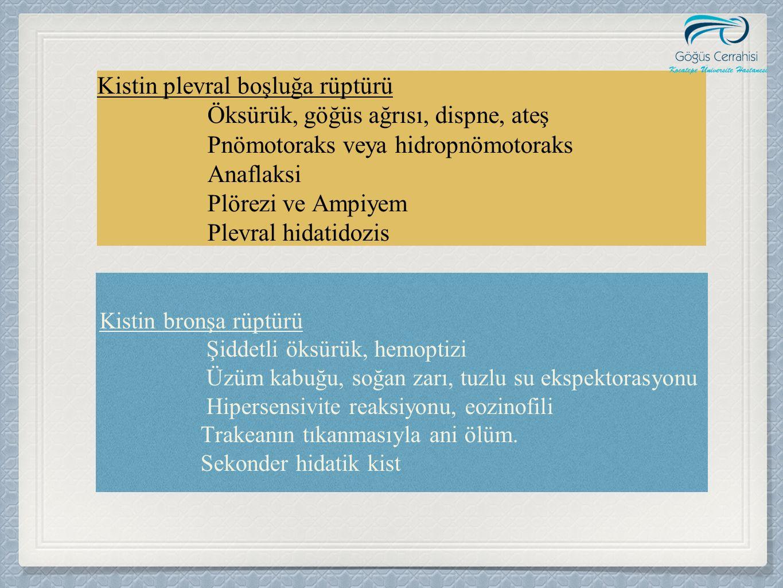 Kistin bronşa rüptürü Şiddetli öksürük, hemoptizi Üzüm kabuğu, soğan zarı, tuzlu su ekspektorasyonu Hipersensivite reaksiyonu, eozinofili Trakeanın tı