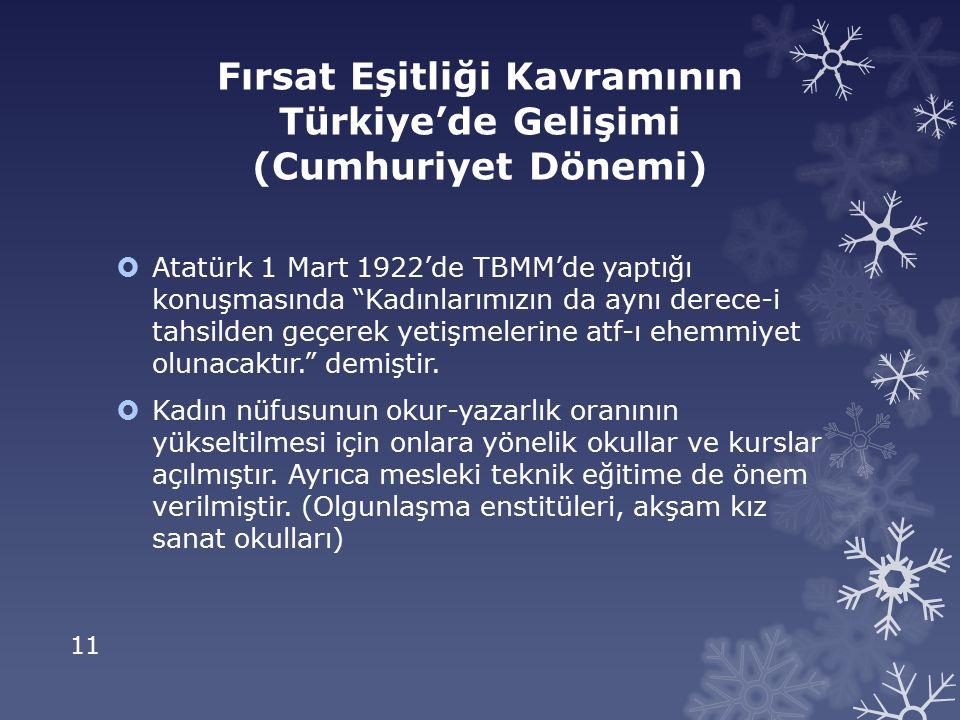 11 Fırsat Eşitliği Kavramının Türkiye'de Gelişimi (Cumhuriyet Dönemi)  Atatürk 1 Mart 1922'de TBMM'de yaptığı konuşmasında Kadınlarımızın da aynı derece-i tahsilden geçerek yetişmelerine atf-ı ehemmiyet olunacaktır. demiştir.