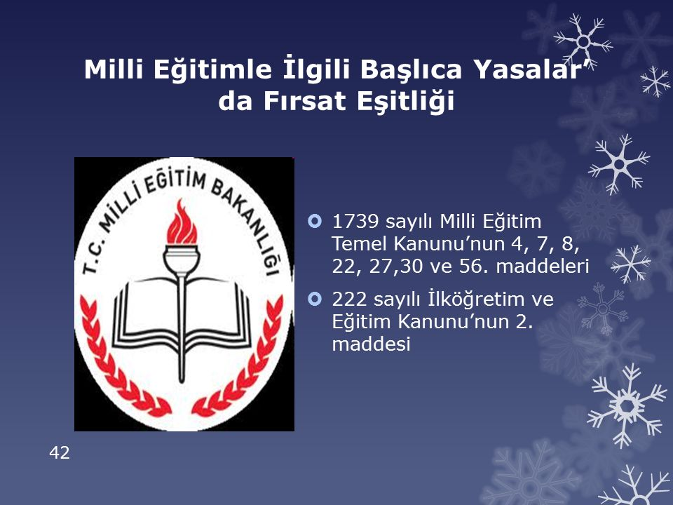 42 Milli Eğitimle İlgili Başlıca Yasalar' da Fırsat Eşitliği  1739 sayılı Milli Eğitim Temel Kanunu'nun 4, 7, 8, 22, 27,30 ve 56.