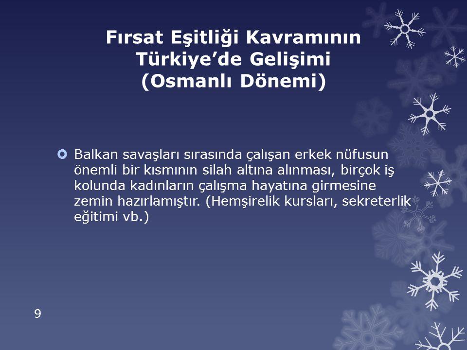 10 Fırsat Eşitliği Kavramının Türkiye'de Gelişimi (Cumhuriyet Dönemi)  Cumhuriyetin ilanından sonra medreseler kapatılmış,eğitim kurumları Milli Eğitim Bakanlığı'na bağlanmıştır.