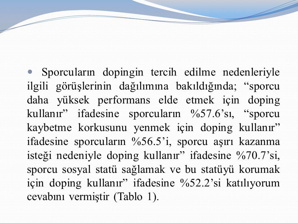 """Sporcuların dopingin tercih edilme nedenleriyle ilgili görüşlerinin dağılımına bakıldığında; """"sporcu daha yüksek performans elde etmek için doping kul"""