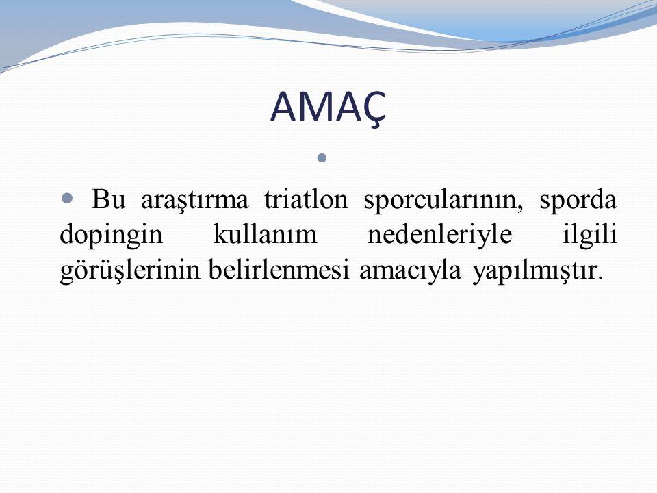 YÖNTEM Tanımlayıcı türdeki araştırma, Türkiye Tiratlon Federasyonu'nun faaliyet programında yer alan Taşucu Triatlonu ve İstanbul Salcano Triatlon Serisine katılan 189 sporcudan anket uygulamayı kabul eden 92 kişi ile yürütülmüştür.