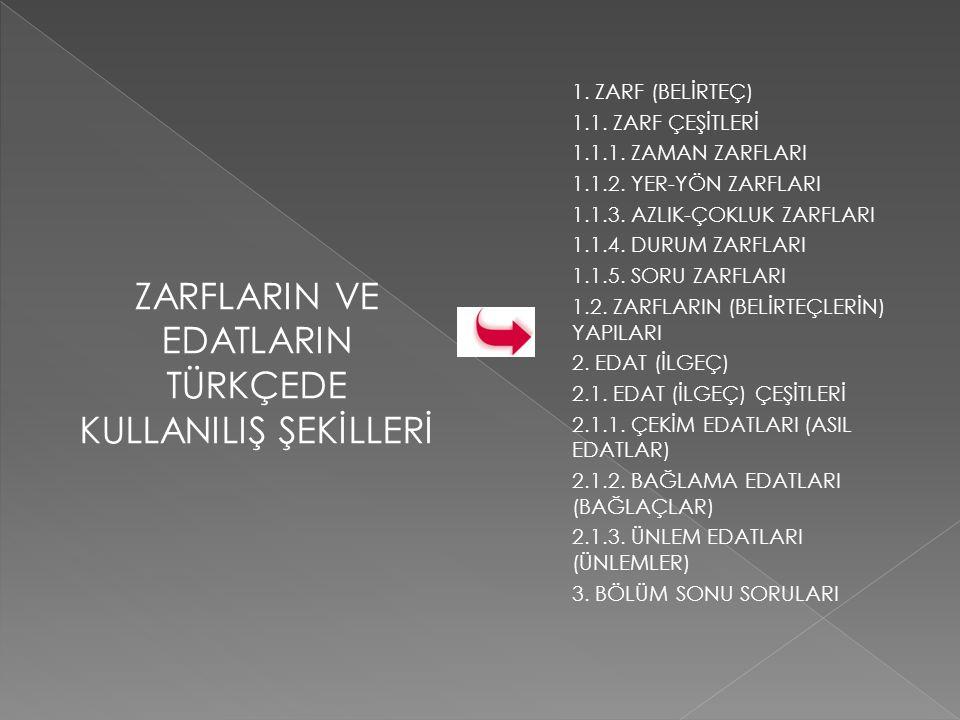 KAYNAKLAR Muharrem Ergin, Türk Dilbilgisi, Bayrak Yayınları, İstanbul, 1998.