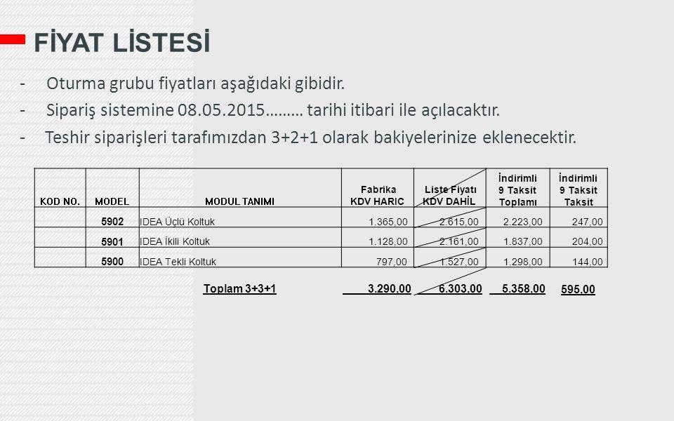 FİYAT LİSTESİ - Oturma grubu fiyatları aşağıdaki gibidir. - Sipariş sistemine 08.05.2015……… tarihi itibari ile açılacaktır. -Teshir siparişleri tarafı