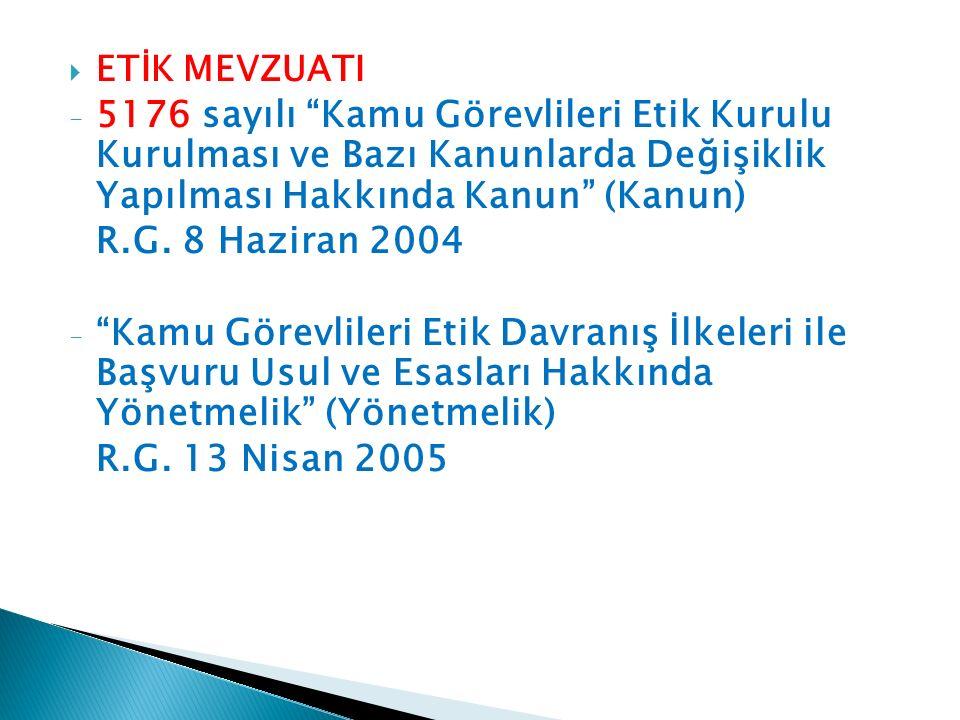  ETİK MEVZUATI - 5176 sayılı Kamu Görevlileri Etik Kurulu Kurulması ve Bazı Kanunlarda Değişiklik Yapılması Hakkında Kanun (Kanun) R.G.