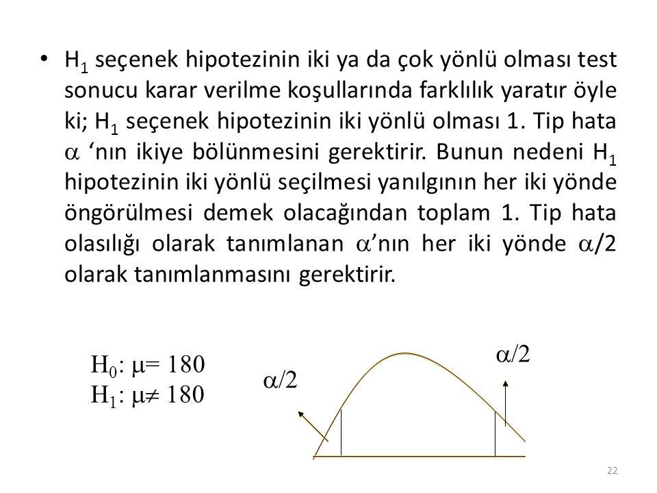 H 1 seçenek hipotezinin iki ya da çok yönlü olması test sonucu karar verilme koşullarında farklılık yaratır öyle ki; H 1 seçenek hipotezinin iki yönlü olması 1.