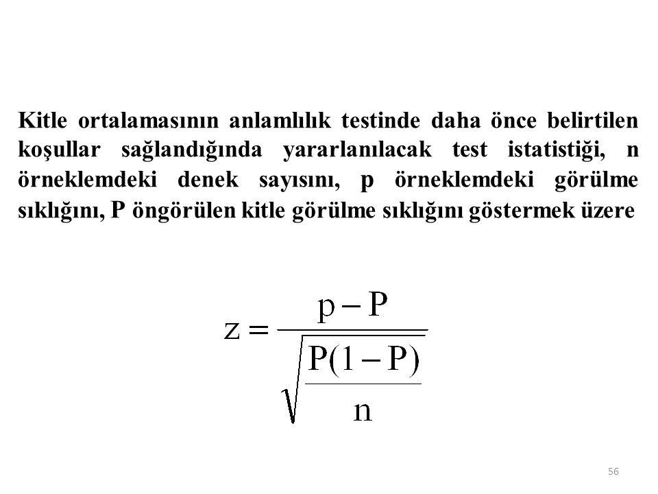 Kitle ortalamasının anlamlılık testinde daha önce belirtilen koşullar sağlandığında yararlanılacak test istatistiği, n örneklemdeki denek sayısını, p örneklemdeki görülme sıklığını, P öngörülen kitle görülme sıklığını göstermek üzere 56