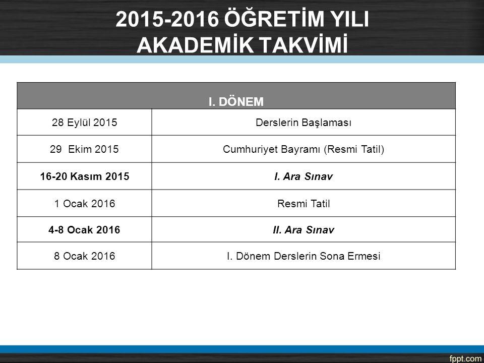 I. DÖNEM 28 Eylül 2015Derslerin Başlaması 29 Ekim 2015Cumhuriyet Bayramı (Resmi Tatil) 16-20 Kasım 2015I. Ara Sınav 1 Ocak 2016Resmi Tatil 4-8 Ocak 20