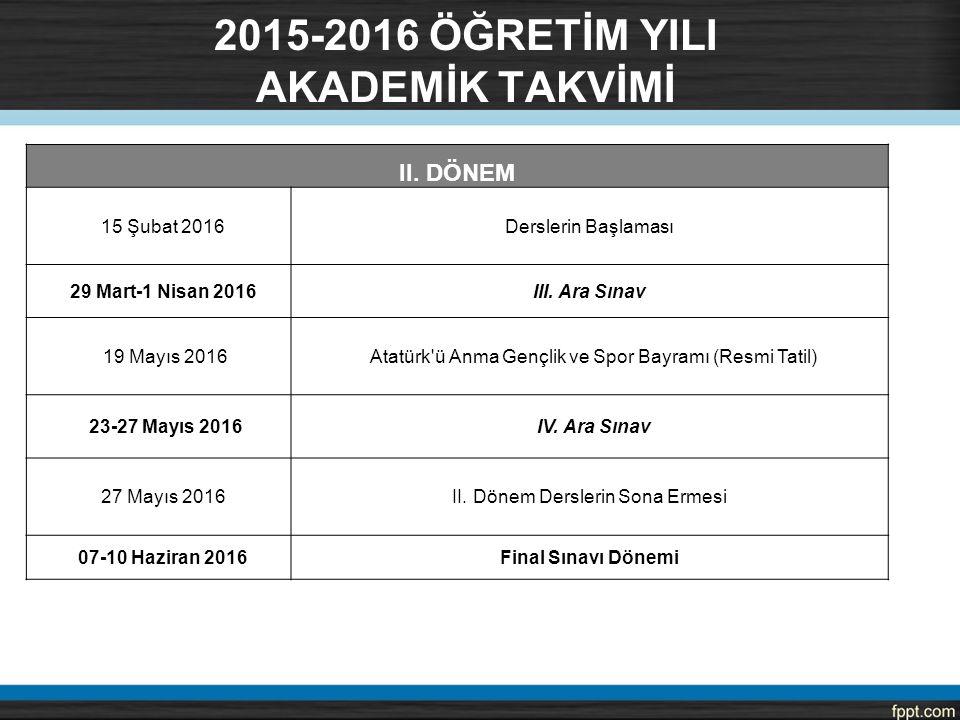 II. DÖNEM 15 Şubat 2016Derslerin Başlaması 29 Mart-1 Nisan 2016III. Ara Sınav 19 Mayıs 2016 Atatürk'ü Anma Gençlik ve Spor Bayramı (Resmi Tatil) 23-27