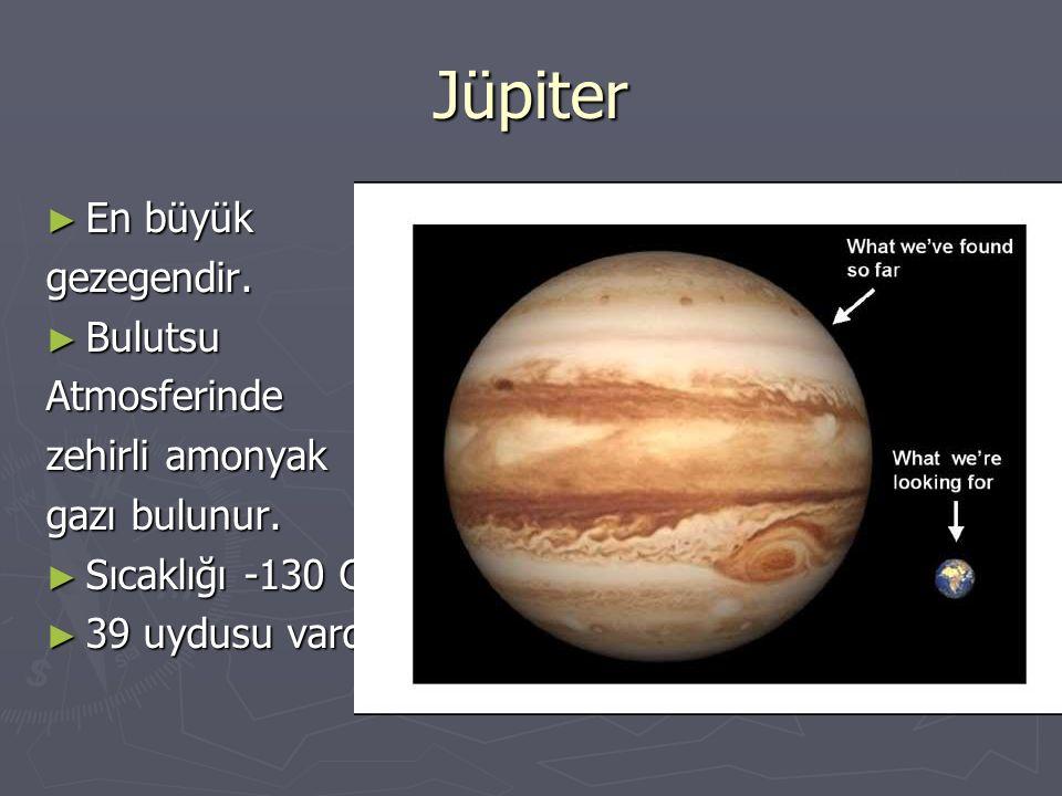 Jüpiter ► En büyük gezegendir. ► Bulutsu Atmosferinde zehirli amonyak gazı bulunur. ► Sıcaklığı -130 C. ► 39 uydusu vardır.