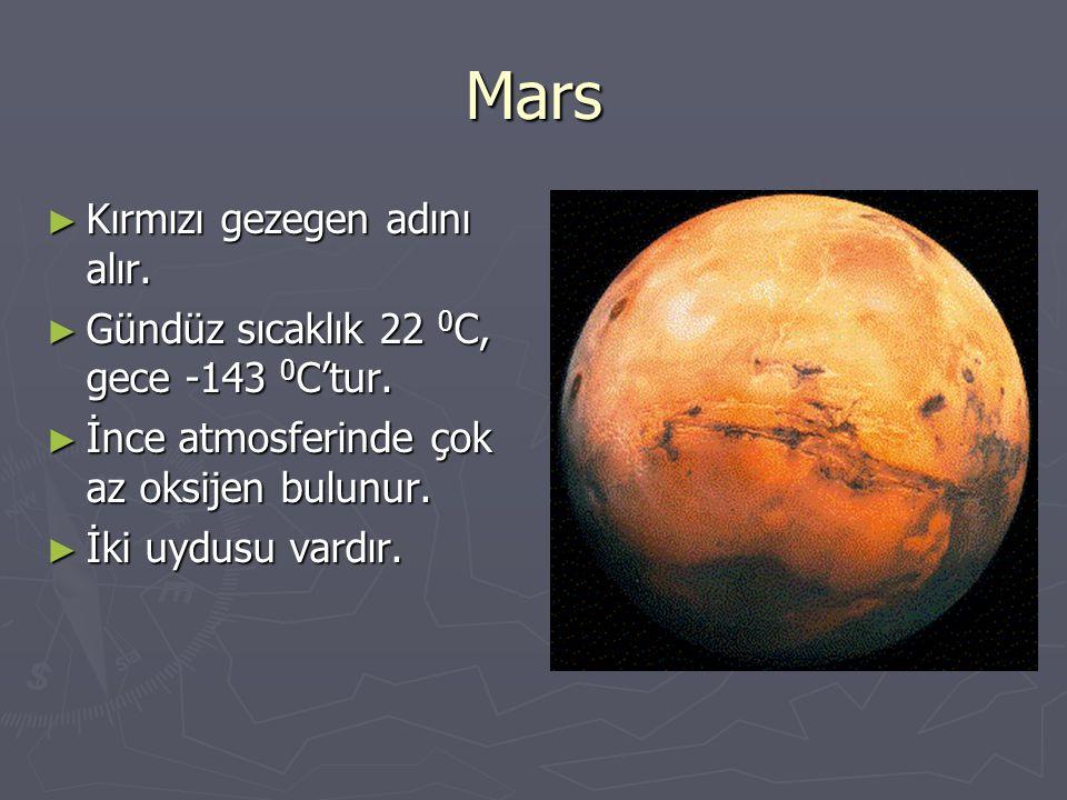 Mars ► Kırmızı gezegen adını alır. ► Gündüz sıcaklık 22 0 C, gece -143 0 C'tur. ► İnce atmosferinde çok az oksijen bulunur. ► İki uydusu vardır.