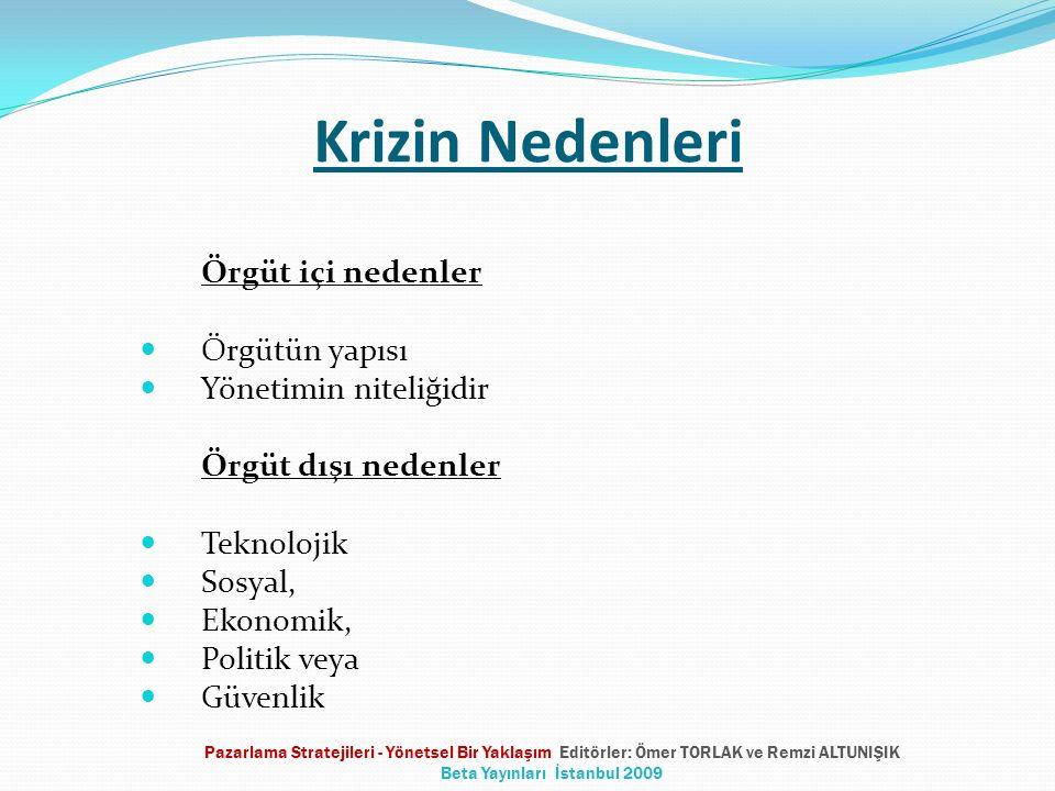Krizin Nedenleri Örgüt içi nedenler Örgütün yapısı Yönetimin niteliğidir Örgüt dışı nedenler Teknolojik Sosyal, Ekonomik, Politik veya Güvenlik Pazarlama Stratejileri - Yönetsel Bir Yaklaşım Editörler: Ömer TORLAK ve Remzi ALTUNIŞIK Beta Yayınları İstanbul 2009