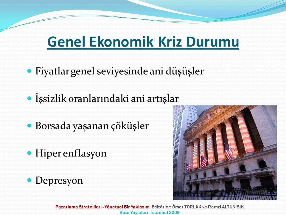 Genel Ekonomik Kriz Durumu Fiyatlar genel seviyesinde ani düşüşler İşsizlik oranlarındaki ani artışlar Borsada yaşanan çöküşler Hiper enflasyon Depresyon Pazarlama Stratejileri - Yönetsel Bir Yaklaşım Editörler: Ömer TORLAK ve Remzi ALTUNIŞIK Beta Yayınları İstanbul 2009