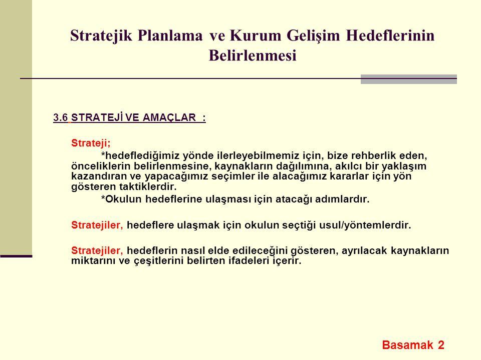 Stratejik Planlama ve Kurum Gelişim Hedeflerinin Belirlenmesi 3.6 STRATEJİ VE AMAÇLAR : Strateji; *hedeflediğimiz yönde ilerleyebilmemiz için, bize re