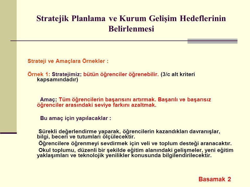 Stratejik Planlama ve Kurum Gelişim Hedeflerinin Belirlenmesi Strateji ve Amaçlara Örnekler : Örnek 1: Stratejimiz; bütün öğrenciler öğrenebilir. (3/c