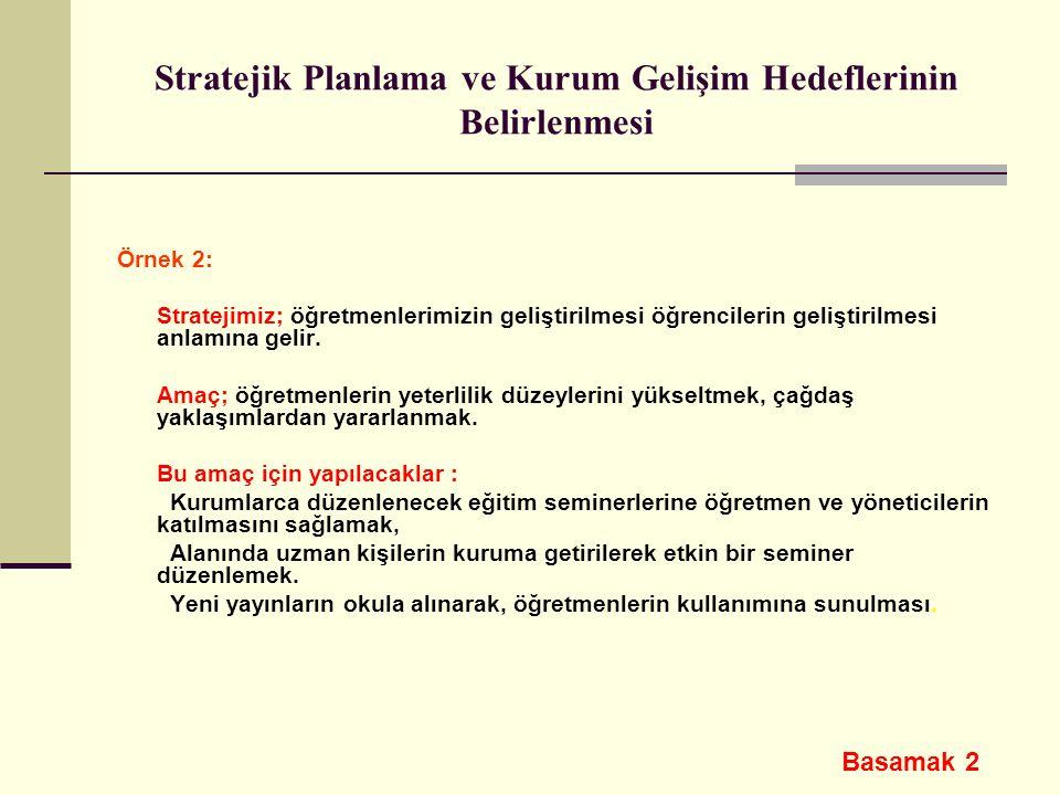 Stratejik Planlama ve Kurum Gelişim Hedeflerinin Belirlenmesi Örnek 2: Stratejimiz; öğretmenlerimizin geliştirilmesi öğrencilerin geliştirilmesi anlam