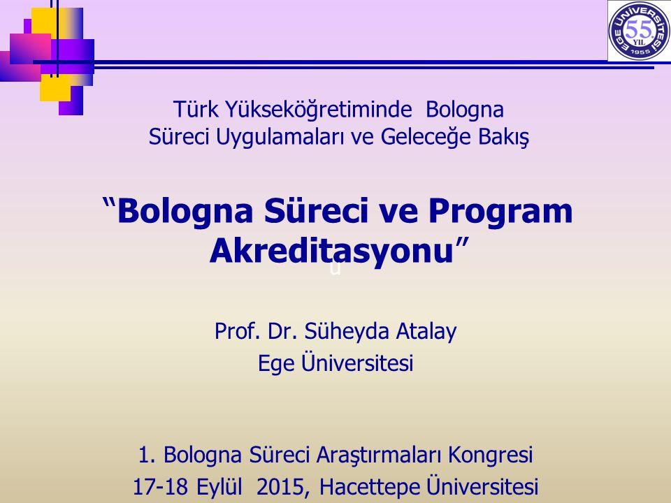Türk Yükseköğretiminde Bologna Süreci Uygulamaları ve Geleceğe Bakış Bologna Süreci ve Program Akreditasyonu u Prof.