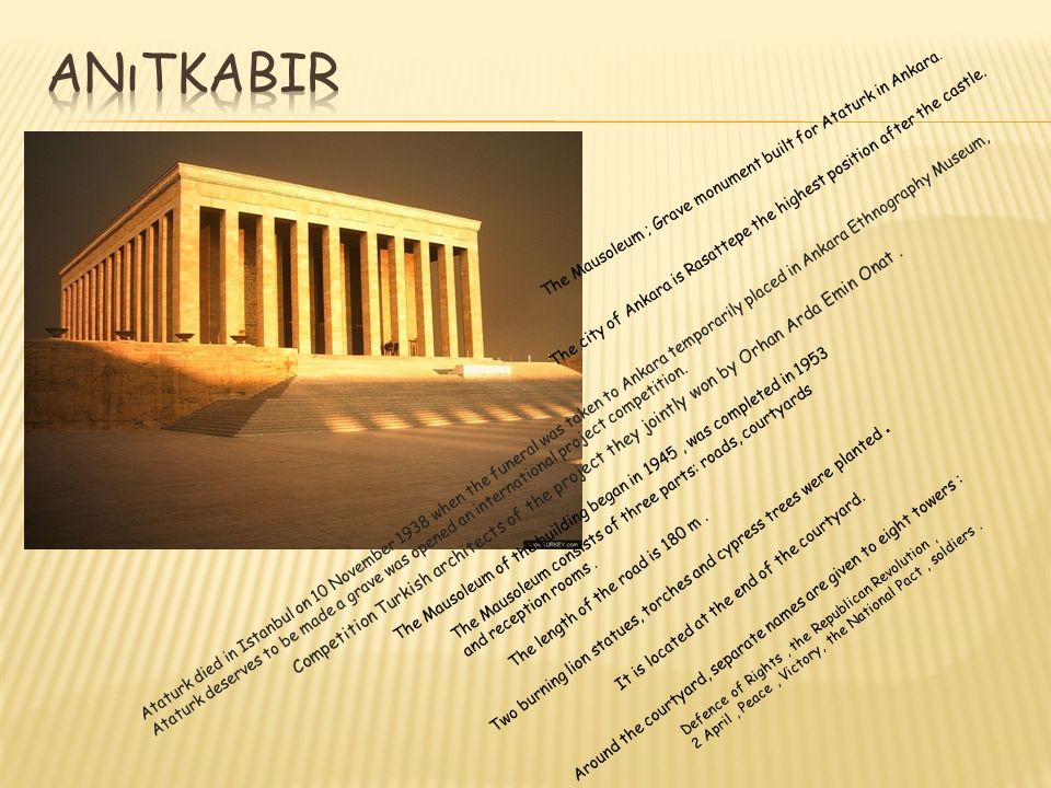 The Mausoleum ; Grave monument built for Ataturk in Ankara.