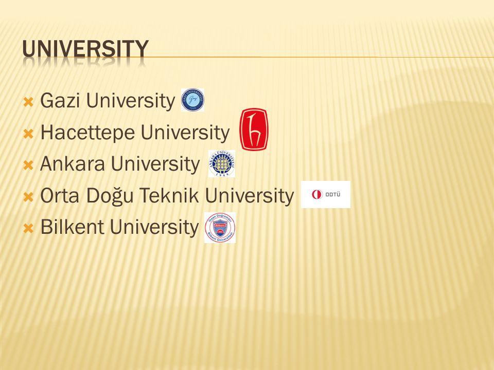  Gazi University  Hacettepe University  Ankara University  Orta Doğu Teknik University  Bilkent University