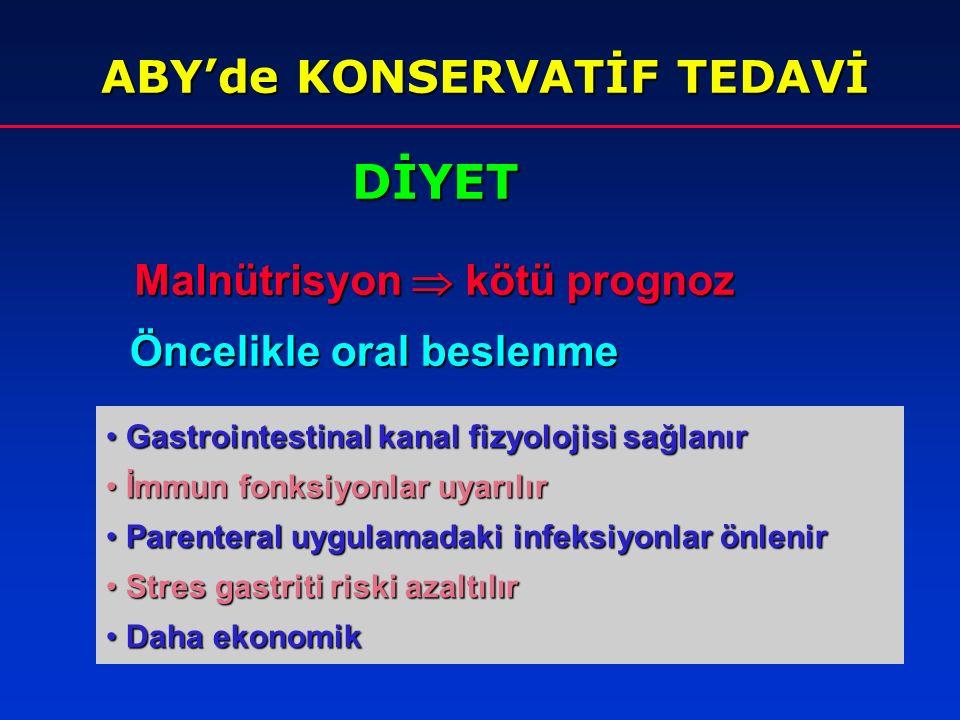İNTRARENAL ABY'lerde TEDAVİ I. Altta yatan primer olayın özel tedavisi II. ABY'nin genel tedavisi Konservatif tedavi Konservatif tedavi Diyet Diyet Sı