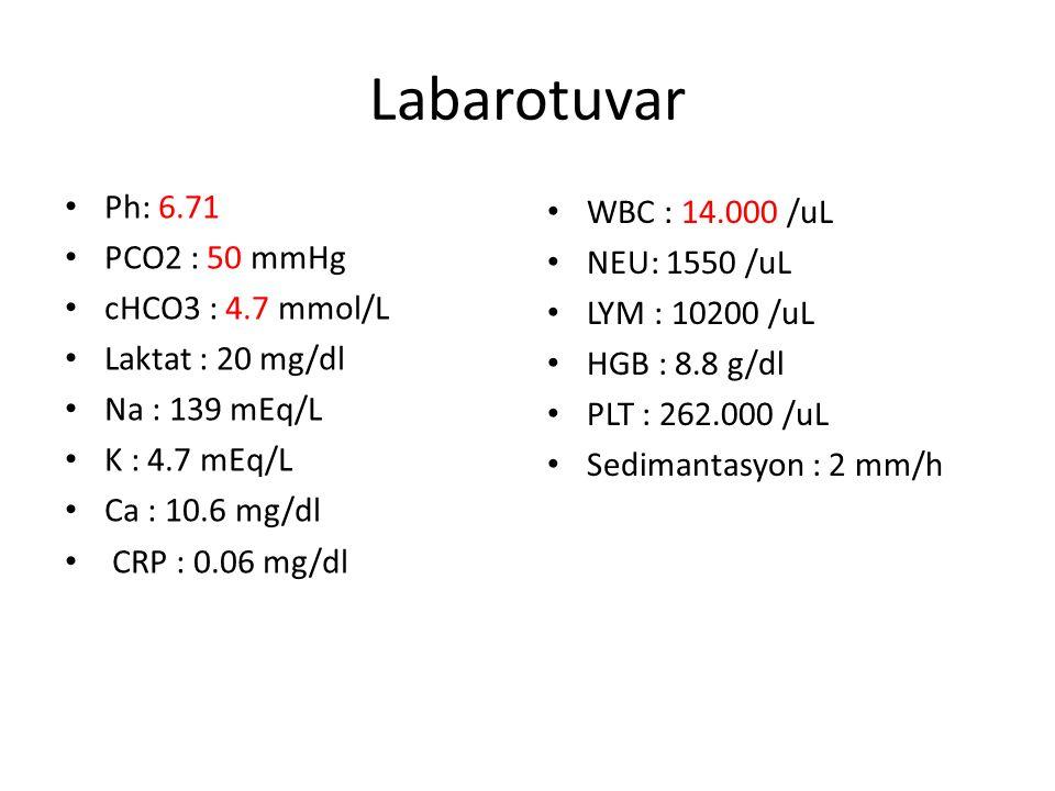 Labarotuvar Ph: 6.71 PCO2 : 50 mmHg cHCO3 : 4.7 mmol/L Laktat : 20 mg/dl Na : 139 mEq/L K : 4.7 mEq/L Ca : 10.6 mg/dl CRP : 0.06 mg/dl WBC : 14.000 /uL NEU: 1550 /uL LYM : 10200 /uL HGB : 8.8 g/dl PLT : 262.000 /uL Sedimantasyon : 2 mm/h