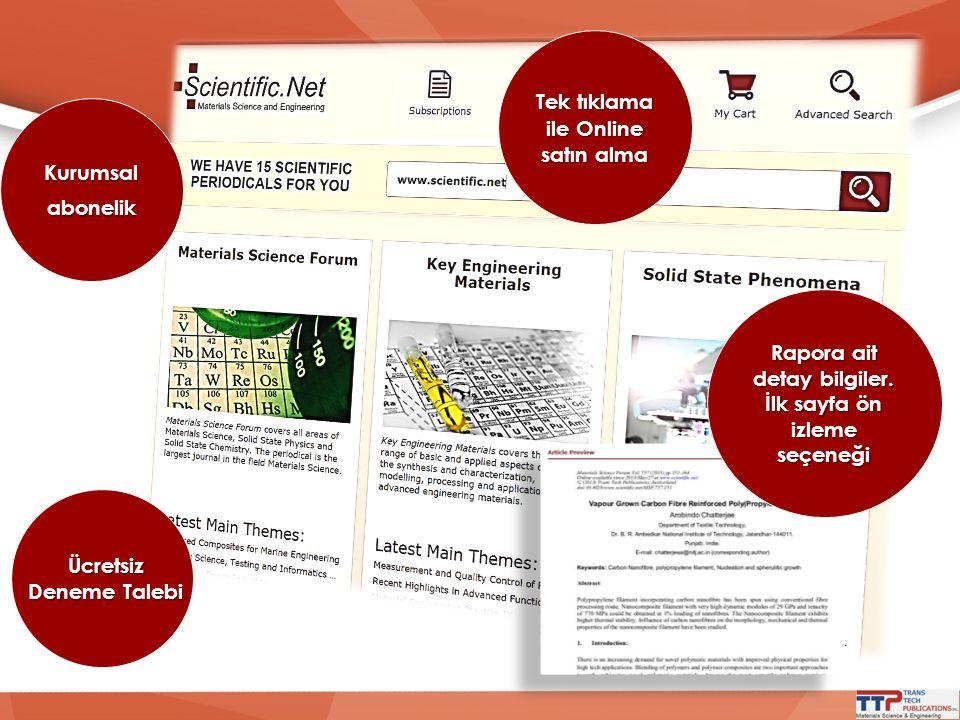 Tek tıklama ile Online satın alma Rapora ait detay bilgiler. İlk sayfa ön izleme seçeneği Kurumsalabonelik Ücretsiz Deneme Talebi
