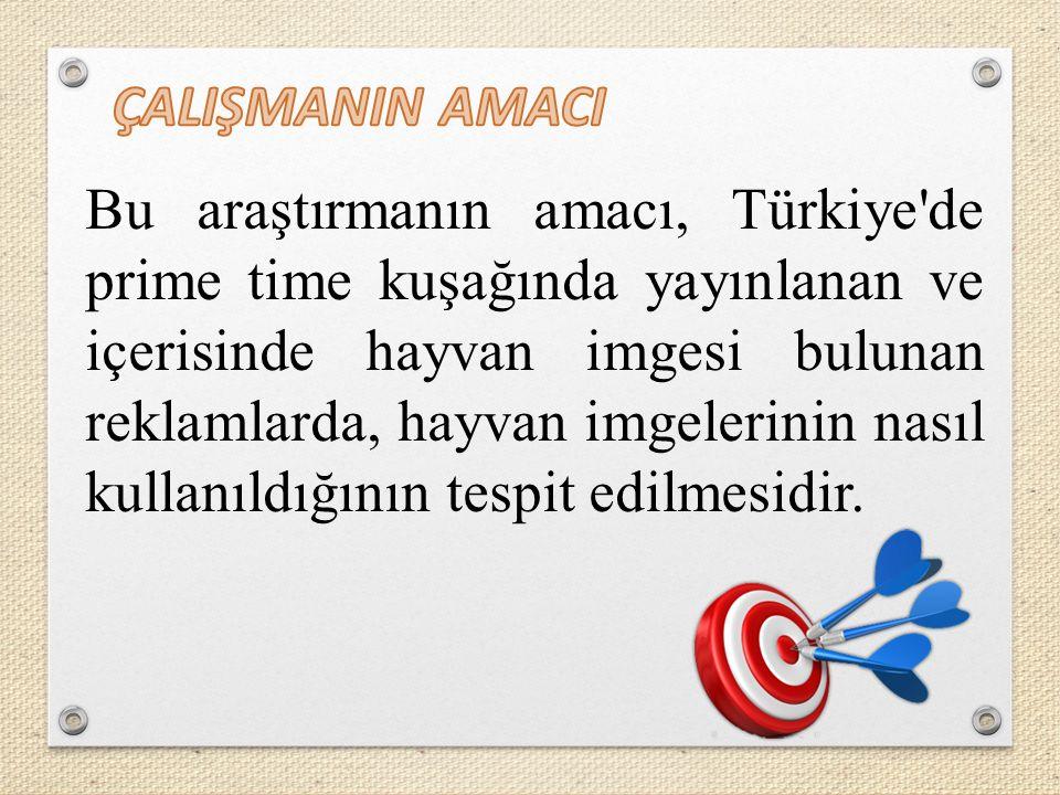 Bu araştırmanın amacı, Türkiye de prime time kuşağında yayınlanan ve içerisinde hayvan imgesi bulunan reklamlarda, hayvan imgelerinin nasıl kullanıldığının tespit edilmesidir.