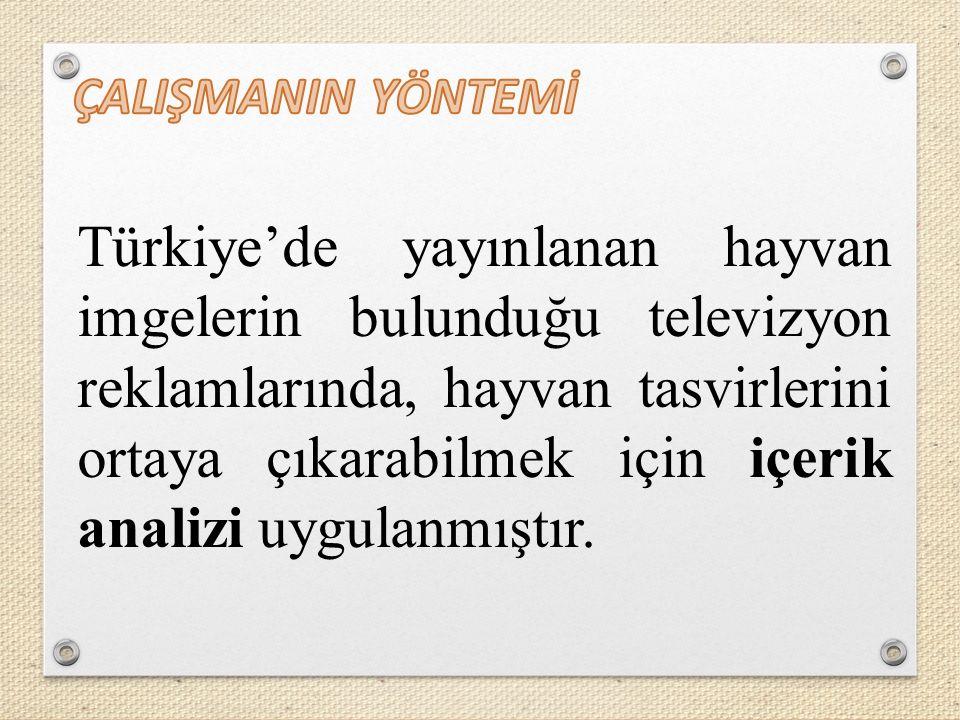 Türkiye'de yayınlanan hayvan imgelerin bulunduğu televizyon reklamlarında, hayvan tasvirlerini ortaya çıkarabilmek için içerik analizi uygulanmıştır.