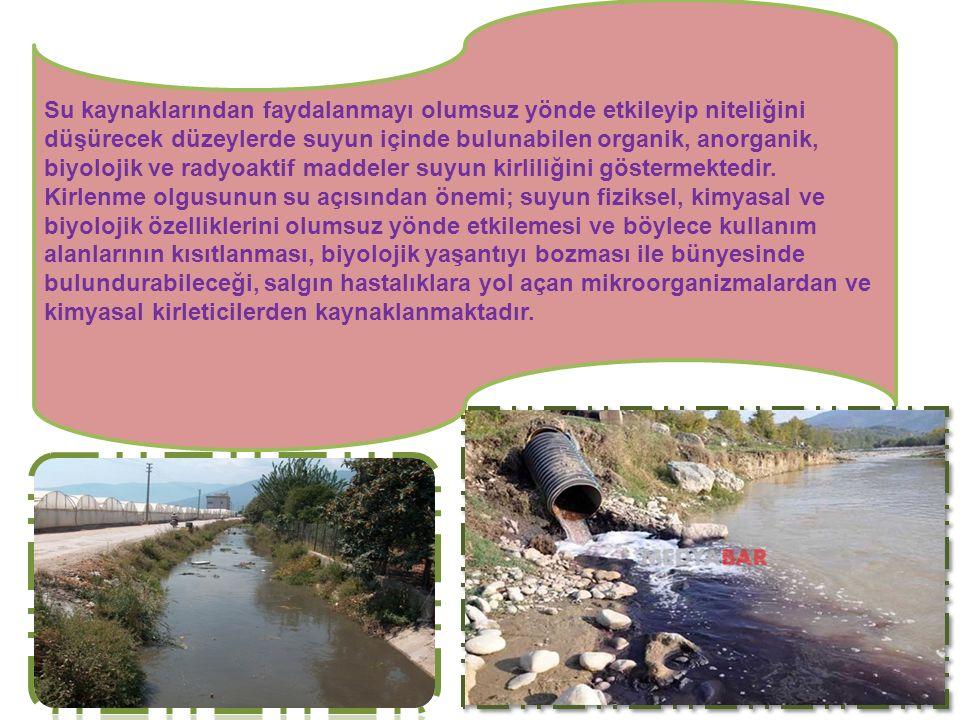 Su kaynaklarından faydalanmayı olumsuz yönde etkileyip niteliğini düşürecek düzeylerde suyun içinde bulunabilen organik, anorganik, biyolojik ve radyo