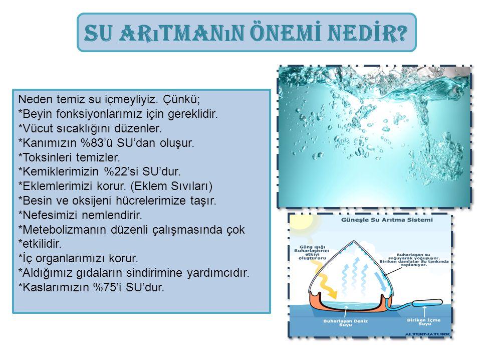 Su Ar ı tman ı n Önem İ Ned İ r? Neden temiz su içmeyliyiz. Çünkü; *Beyin fonksiyonlarımız için gereklidir. *Vücut sıcaklığını düzenler. *Kanımızın %8