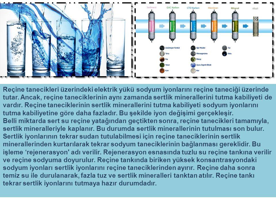 Reçine tanecikleri üzerindeki elektrik yükü sodyum iyonlarını reçine taneciği üzerinde tutar. Ancak, reçine taneciklerinin aynı zamanda sertlik minera