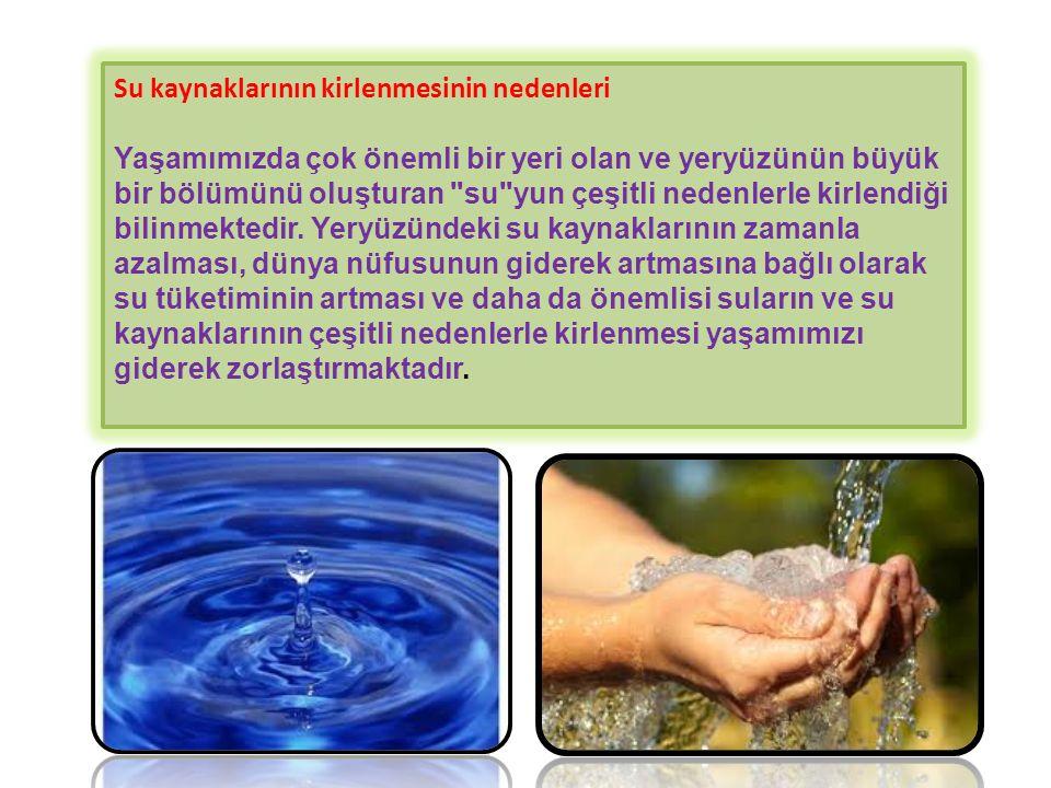 Su kaynaklarının kirlenmesinin nedenleri Yaşamımızda çok önemli bir yeri olan ve yeryüzünün büyük bir bölümünü oluşturan