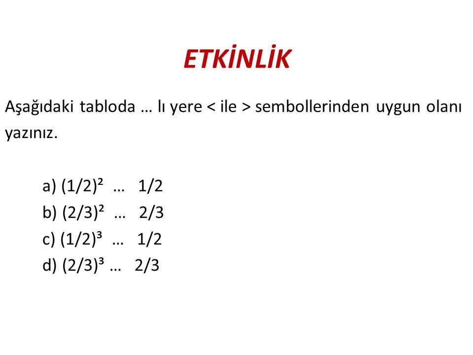 ETKİNLİK Aşağıdaki tabloda … lı yere sembollerinden uygun olanı yazınız. a) (1/2)² … 1/2 b) (2/3)² … 2/3 c) (1/2)³ … 1/2 d) (2/3)³ … 2/3