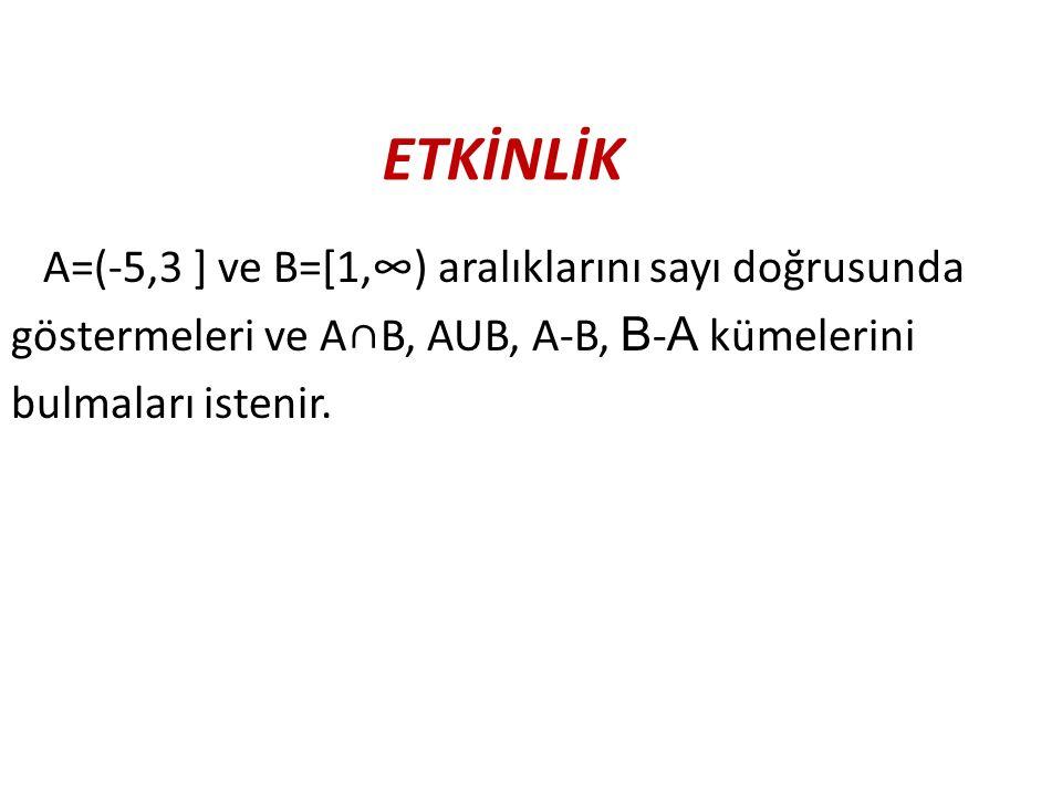 ETKİNLİK A=(-5,3 ] ve B=[1,∞) aralıklarını sayı doğrusunda göstermeleri ve A∩B, AUB, A-B, B - A kümelerini bulmaları istenir.