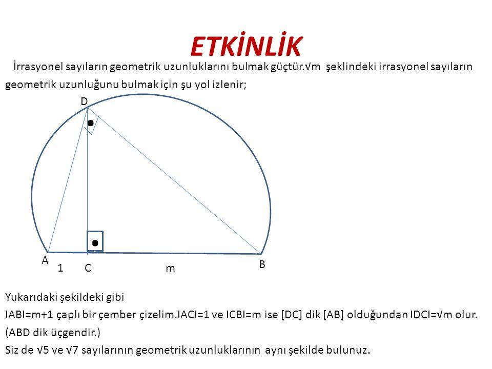 ETKİNLİK İrrasyonel sayıların geometrik uzunluklarını bulmak güçtür.√m şeklindeki irrasyonel sayıların geometrik uzunluğunu bulmak için şu yol izlenir; Yukarıdaki şekildeki gibi IABI=m+1 çaplı bir çember çizelim.IACI=1 ve ICBI=m ise [DC] dik [AB] olduğundan IDCI=√m olur.