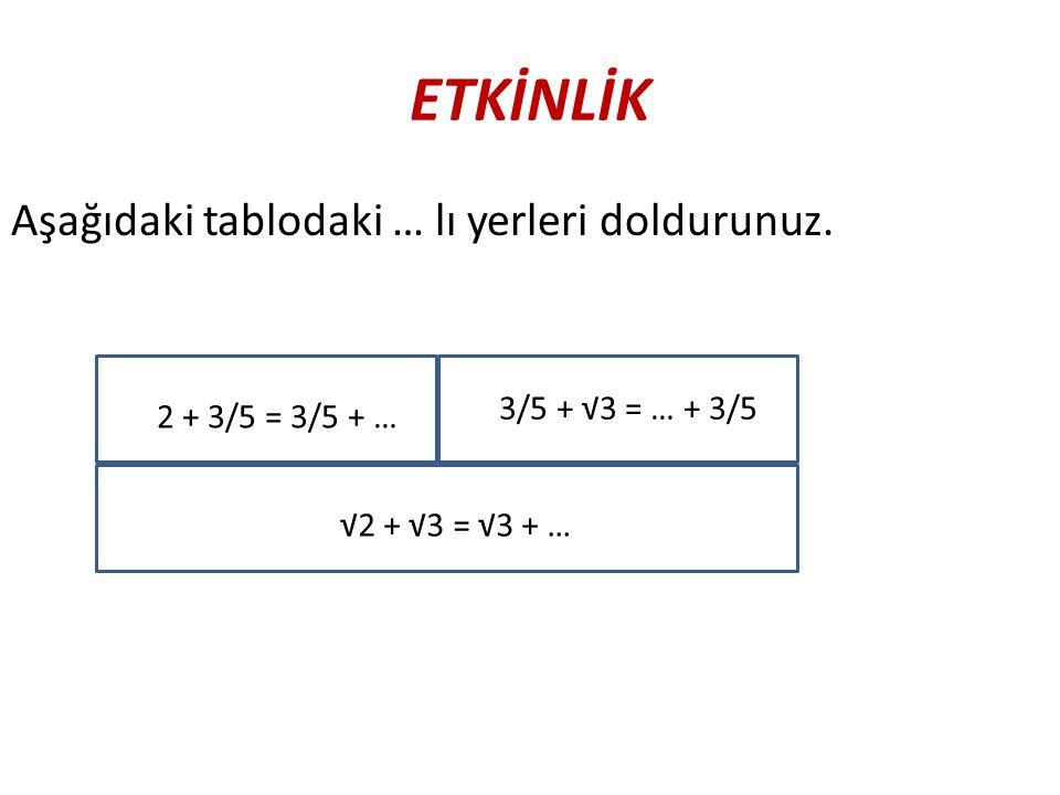 ETKİNLİK Aşağıdaki tablodaki … lı yerleri doldurunuz. 2 + 3/5 = 3/5 + … 3/5 + √3 = … + 3/5 √2 + √3 = √3 + …