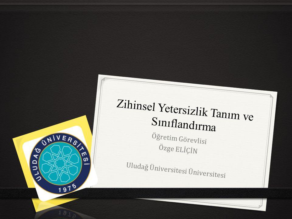 Zihinsel Yetersizlik Tanım ve Sınıflandırma Öğretim Görevlisi Özge ELİÇİN Uludağ Üniversitesi Üniversitesi