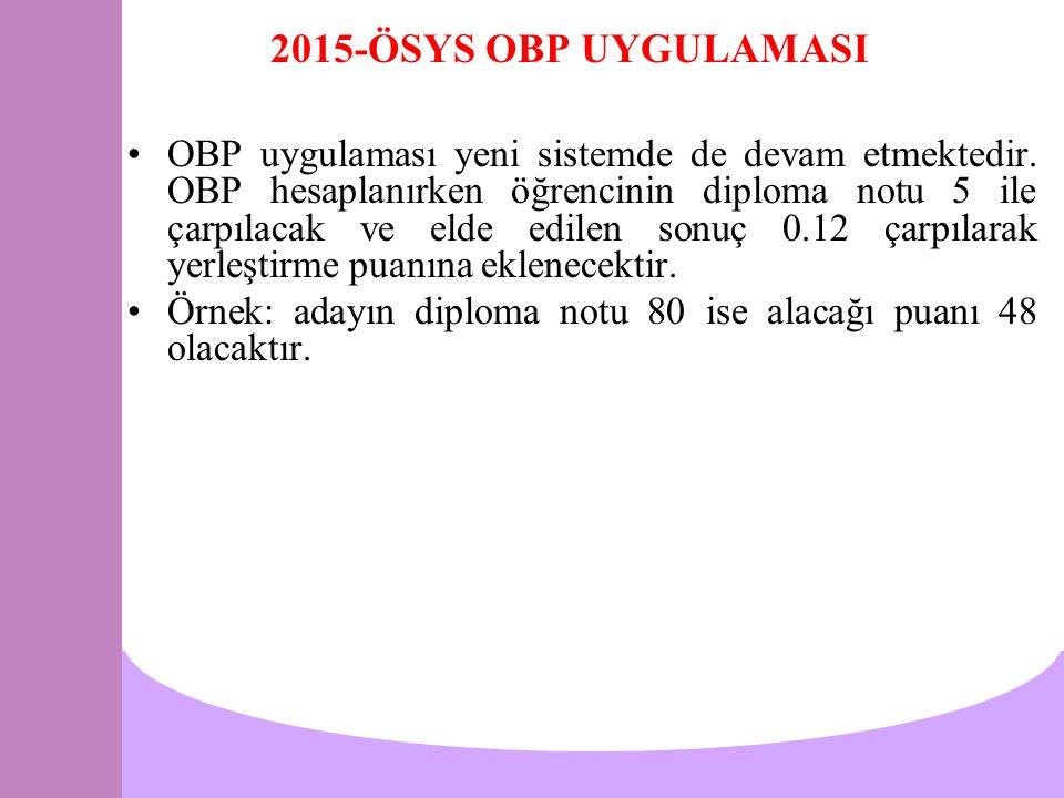 2015-ÖSYS OBP UYGULAMASI OBP uygulaması yeni sistemde de devam etmektedir. OBP hesaplanırken öğrencinin diploma notu 5 ile çarpılacak ve elde edilen s