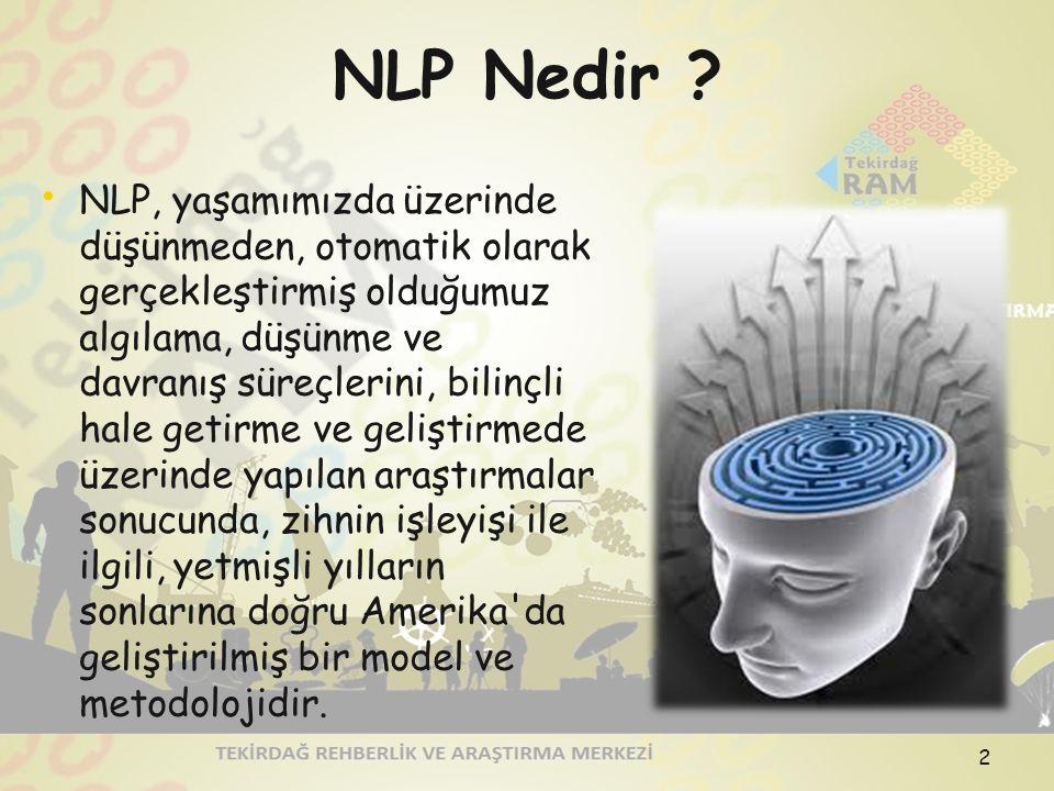 NLP Nedir ? NLP, yaşamımızda üzerinde düşünmeden, otomatik olarak gerçekleştirmiş olduğumuz algılama, düşünme ve davranış süreçlerini, bilinçli hale g