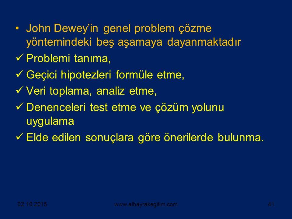 John Dewey'in genel problem çözme yöntemindeki beş aşamaya dayanmaktadır Problemi tanıma, Geçici hipotezleri formüle etme, Veri toplama, analiz etme,