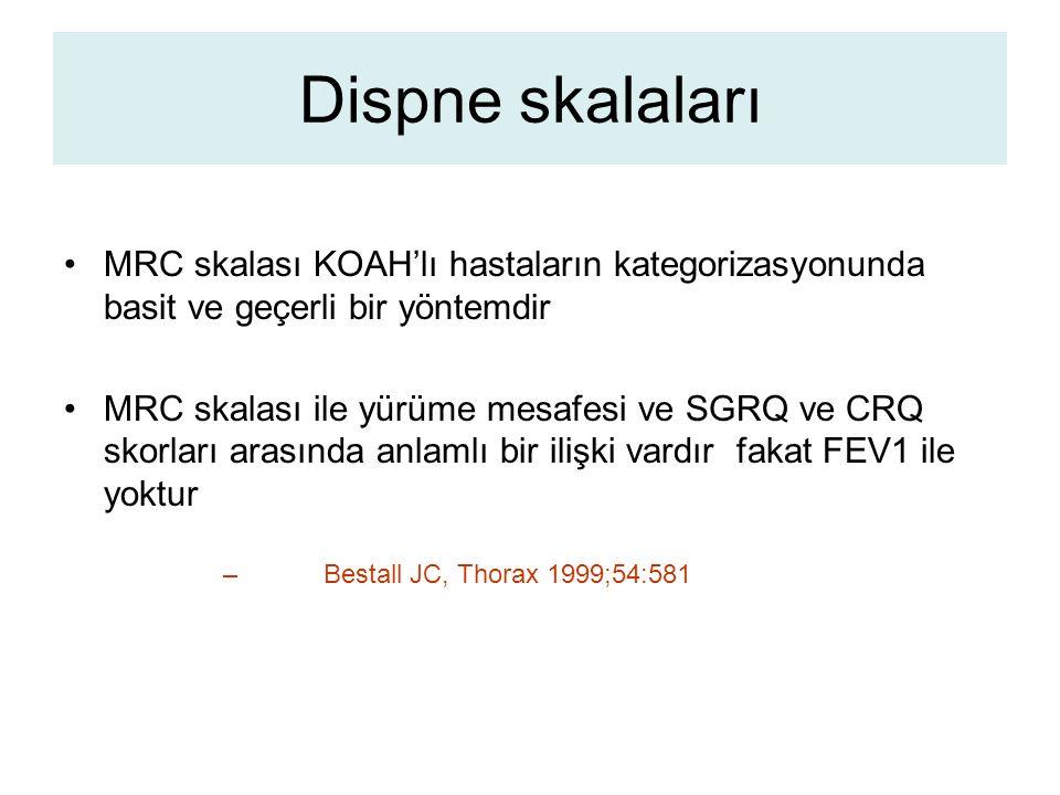 Dispne skalaları MRC skalası KOAH'lı hastaların kategorizasyonunda basit ve geçerli bir yöntemdir MRC skalası ile yürüme mesafesi ve SGRQ ve CRQ skorları arasında anlamlı bir ilişki vardır fakat FEV1 ile yoktur – Bestall JC, Thorax 1999;54:581