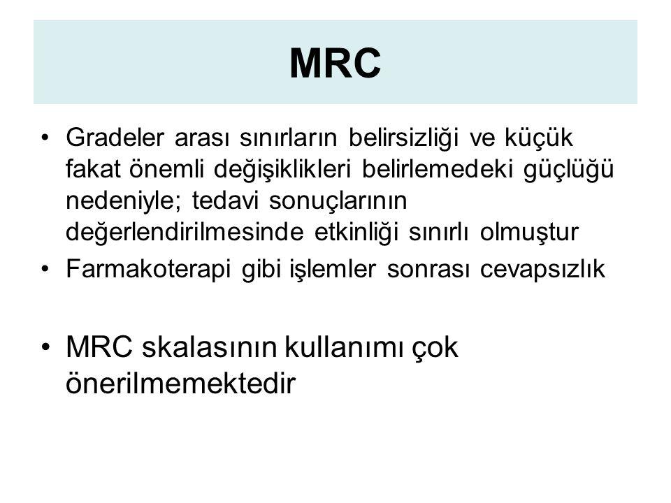 MRC Gradeler arası sınırların belirsizliği ve küçük fakat önemli değişiklikleri belirlemedeki güçlüğü nedeniyle; tedavi sonuçlarının değerlendirilmesinde etkinliği sınırlı olmuştur Farmakoterapi gibi işlemler sonrası cevapsızlık MRC skalasının kullanımı çok önerilmemektedir
