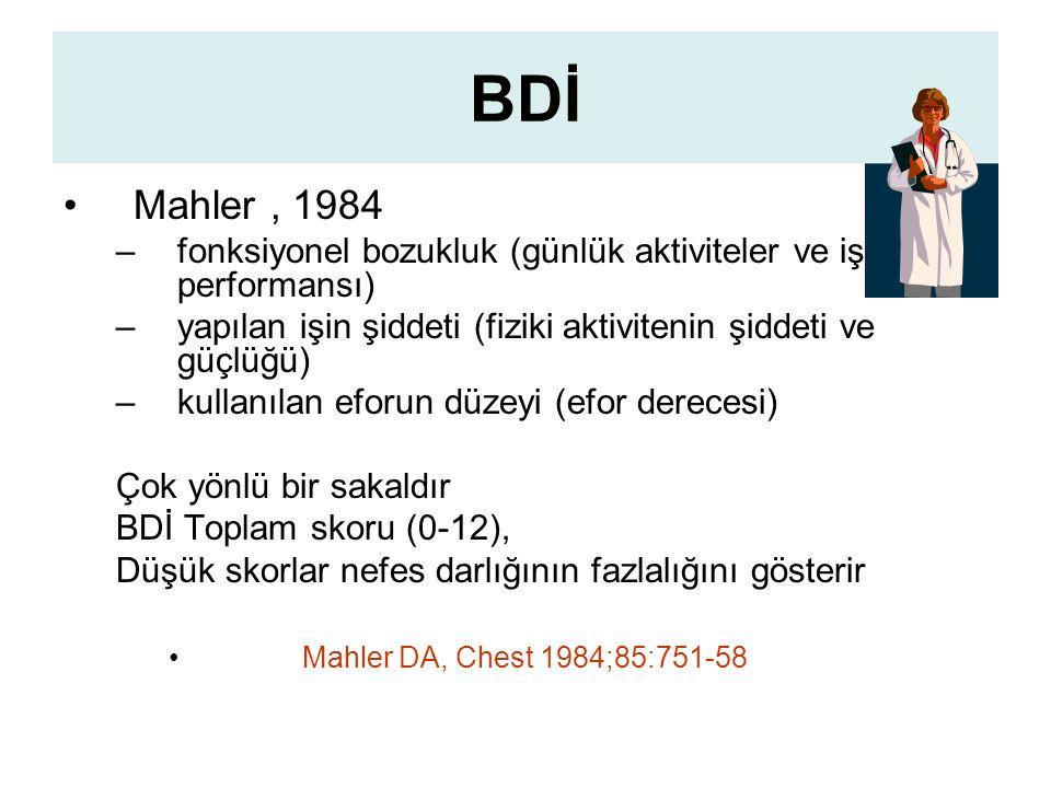 BDİ Mahler, 1984 –fonksiyonel bozukluk (günlük aktiviteler ve iş performansı) –yapılan işin şiddeti (fiziki aktivitenin şiddeti ve güçlüğü) –kullanılan eforun düzeyi (efor derecesi) Çok yönlü bir sakaldır BDİ Toplam skoru (0-12), Düşük skorlar nefes darlığının fazlalığını gösterir Mahler DA, Chest 1984;85:751-58