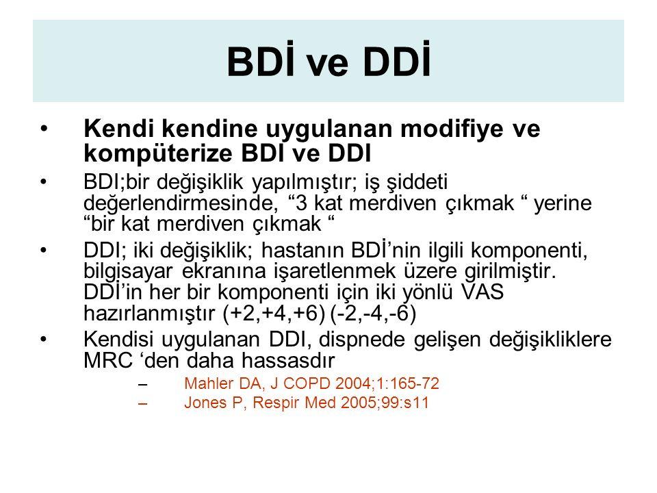 BDİ ve DDİ Kendi kendine uygulanan modifiye ve kompüterize BDI ve DDI BDI;bir değişiklik yapılmıştır; iş şiddeti değerlendirmesinde, 3 kat merdiven çıkmak yerine bir kat merdiven çıkmak DDI; iki değişiklik; hastanın BDİ'nin ilgili komponenti, bilgisayar ekranına işaretlenmek üzere girilmiştir.